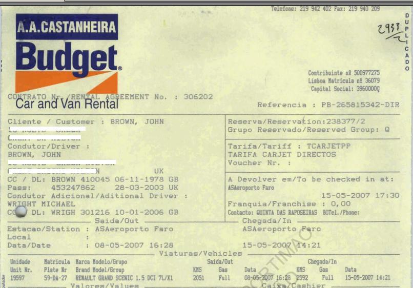 car rental contract