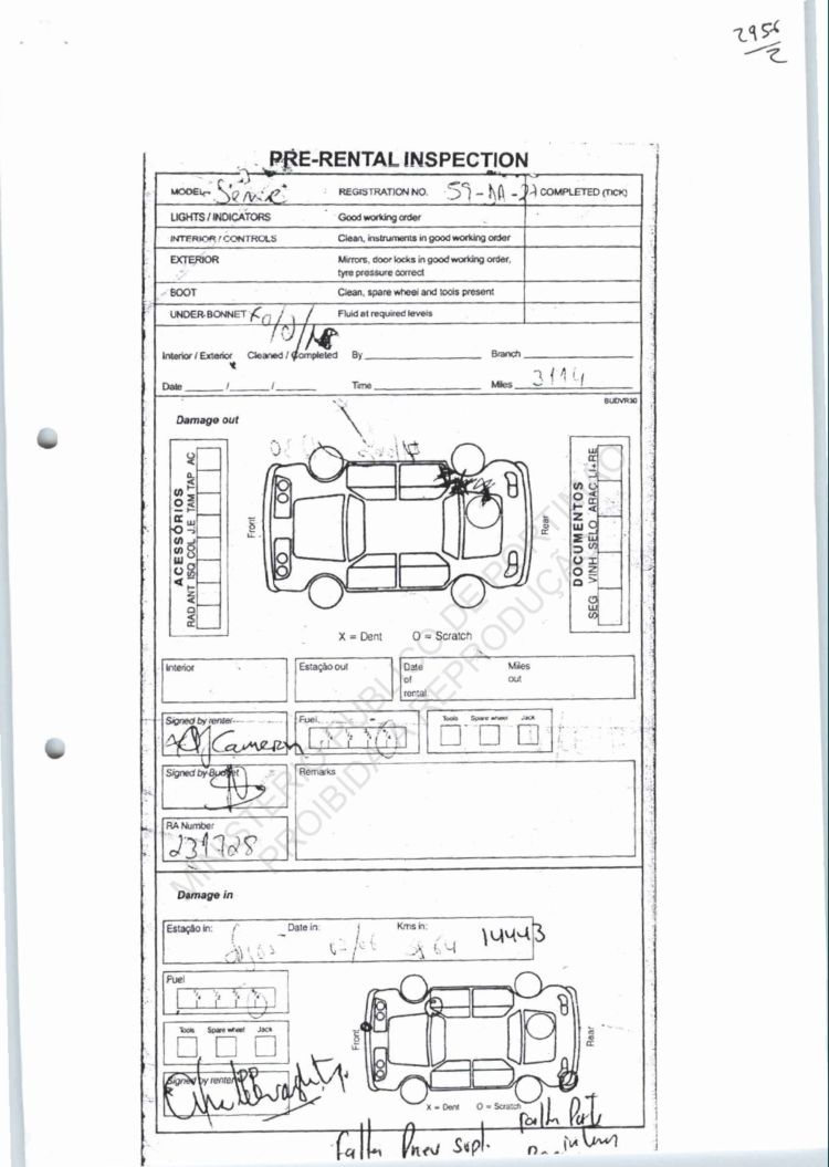 Damage Inspection Vehicle Damage Inspection Form