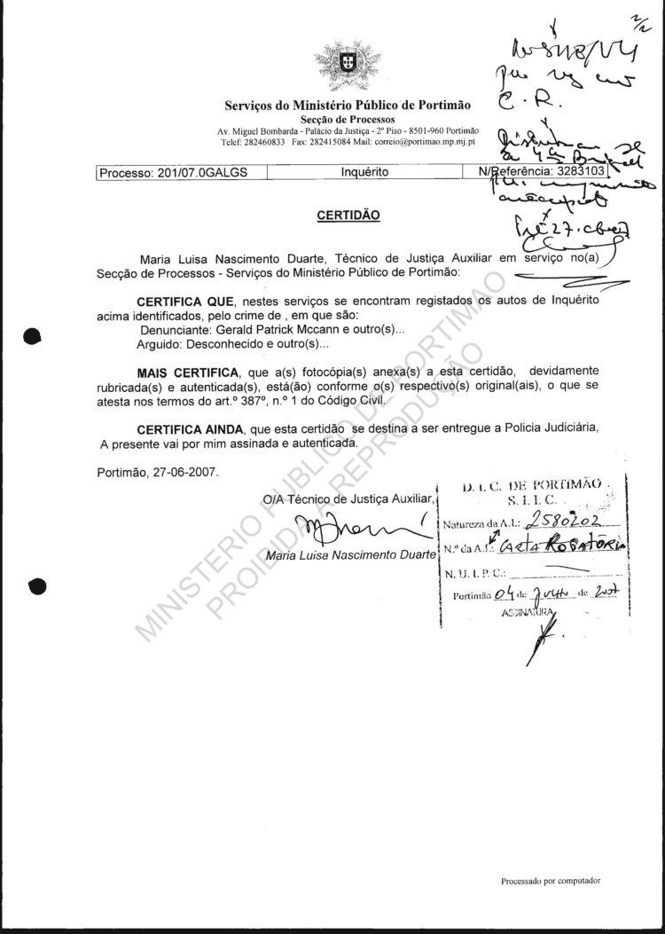 P J Police Files Carta Rogatoria File 1